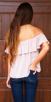 Pink Ruffle Off Shoulder Crop Top
