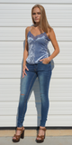 Blue Lace Trimmed Crushed Velvet Cami Tank Top