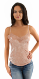 Nude Lace Trimmed Crushed Velvet Cami