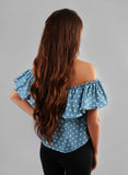 Ruffle Polka Dot Denim Off Shoulder Top