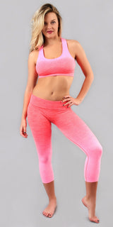 Pink Active Yoga Wear Bra And Capri Set