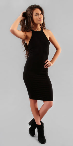 Black Ribbed Knit Bodycon Dress