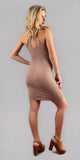 Khaki Ribbed Knit Bodycon Dress
