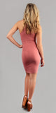Mauve Pink Ribbed Knit Bodycon Dress