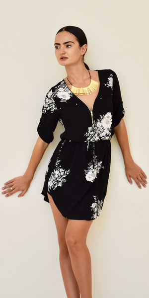 Black Zip Front Floral Shirt Dress