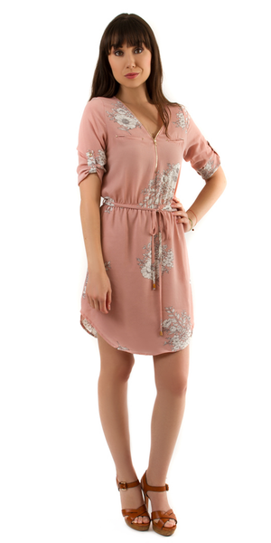 Pink Zip Front Floral Shirt Dress