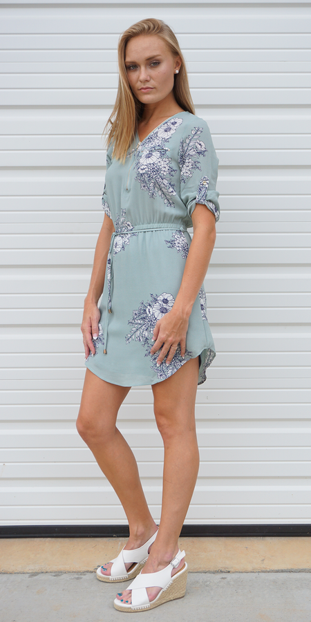 Lace Up Crinkle Gauze Shirt Dress