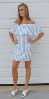 White and blue ruffled off shoulder striped sundress