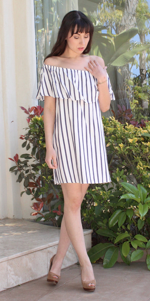 Blue White Striped Off Shoulder Dress