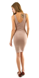 Nude Zip Front Ribbed Tank Dress