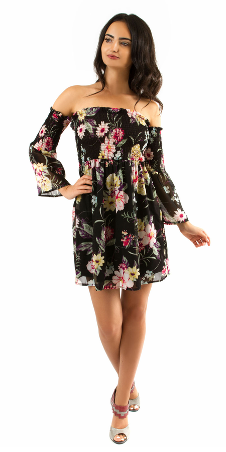 Off Shoulder Mini Floral Dress