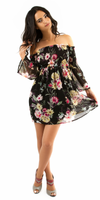Black Floral Smocked Off Shoulder Tunic Dress
