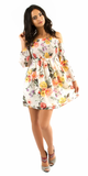White Floral Smocked Off Shoulder Tunic Dress