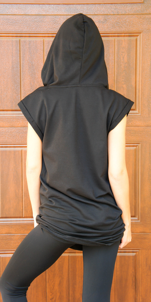 Lace Up Short Sleeve Hoodie