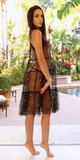 Black Embroidered Sheer Mesh Slip Dress Overlay