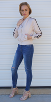 Cream Varsity Striped Satin Bomber Jacket