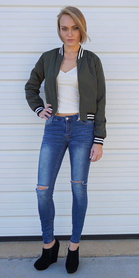 Brushed Satin Bomber Jacket