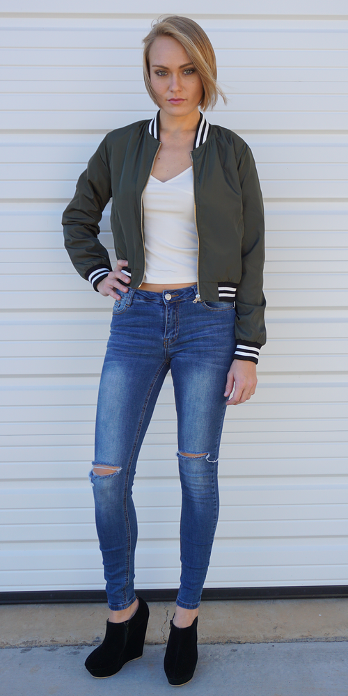 Hunter Green Striped Banded Satin Bomber Jacket