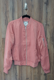 Pink Brushed Satin Bomber Jacket