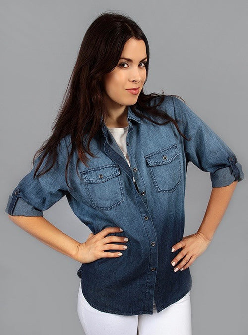 Denim button down shirt with 3/4 sleeve