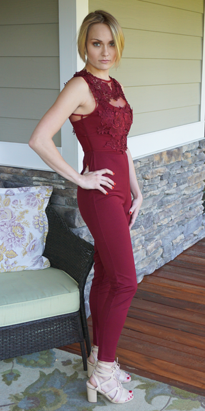 Burgundy Red Embroidered Mesh Top Jumpsuit