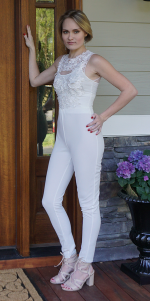 White Embroidered Mesh Top Jumpsuit