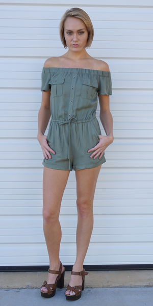Utility Off Shoulder Romper