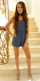 Blue Ribbed Criss Cross Romper with Choker Neck