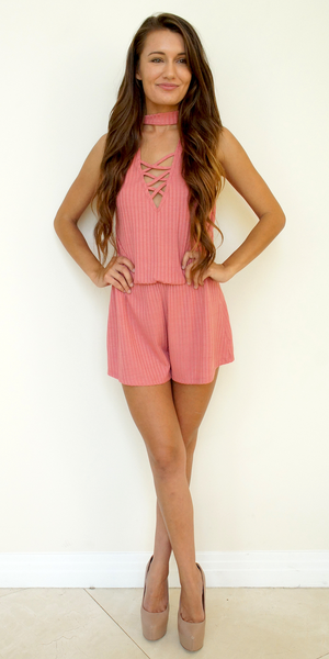 Pink Ribbed Criss Cross Romper with Choker Neck