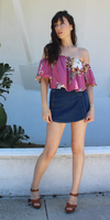 Moto Denim Skort Shorts