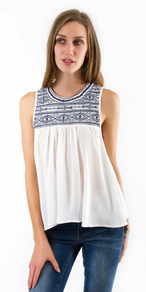 White Sleeveless Embroidered Swing Top