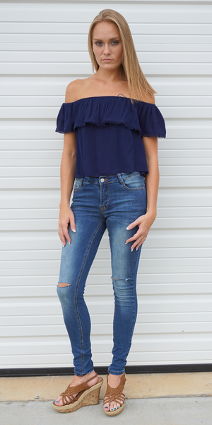 Navy Ruffled Crepe off Shoulder Top