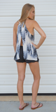 Black & White Tie Dye Open Back Tank Top