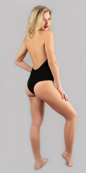Black Ribbed High Neck Halter Bodysuit