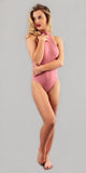 Mauve Pink Ribbed High Neck Halter Bodysuit