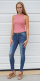 Pink High Neck Ribbed Crop Tank Top