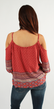Red Boho Printed Cold Shoulder Tunic Top