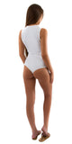 White Plunge Twist Front Bodysuit