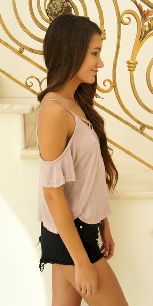 Pale Lavender Purple Criss Cross Cold Shoulder Top