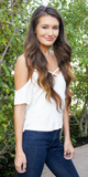 White Criss Cross Cold Shoulder Top