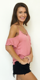 Pink Criss Cross Cold Shoulder Top