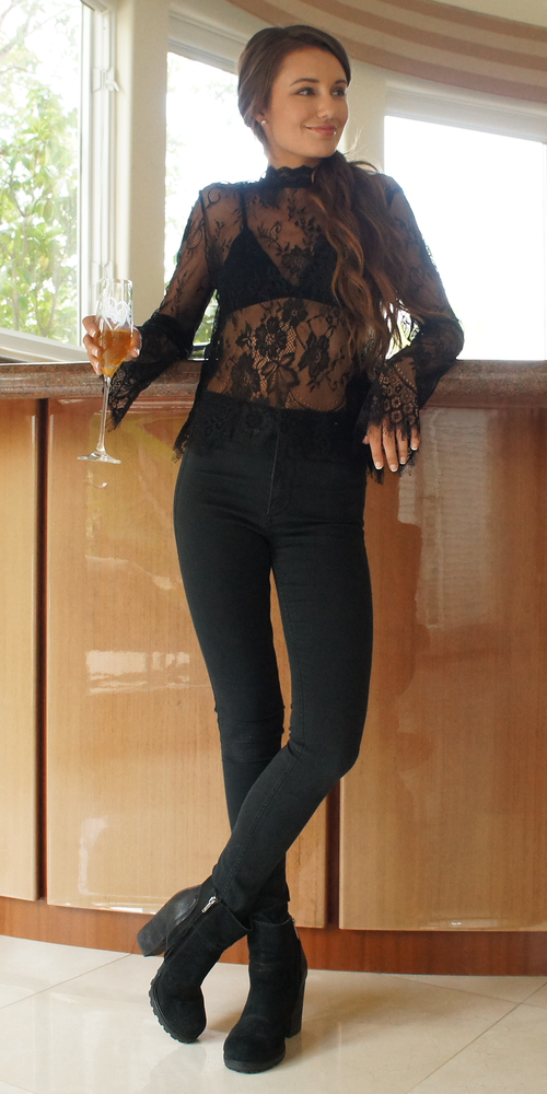 Black Long Sleeve Floral Lace Top