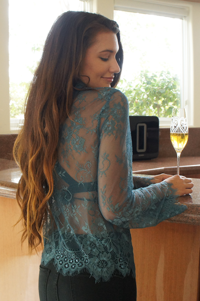 Teal Blue Long Sleeve Floral Lace Top