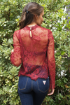 Red Long Sleeve Floral Lace Top