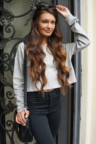 Grey Distressed Knit Crop Top