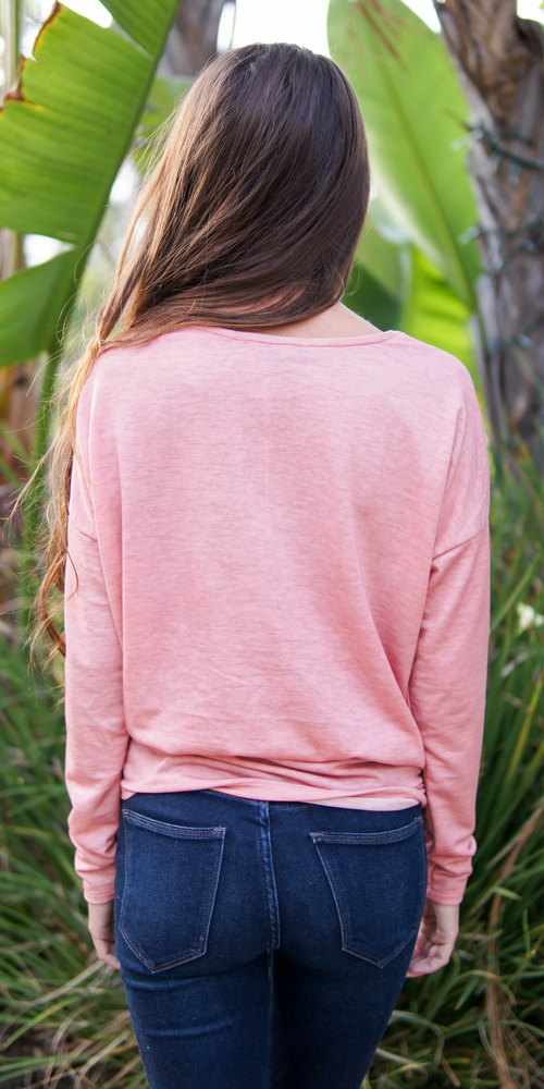 Pink Long Sleeve Knot Front Knit Top