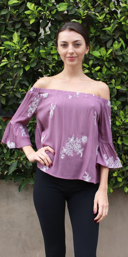 Purple Floral Embroidered Off Shoulder Top