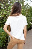 White Knotted Distressed Cotton T Shirt