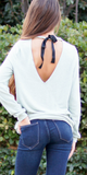 Keyhole Bow Tie Back Knit Top