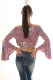 Pink Cropped Floral Bell Sleeve Off Shoulder Top